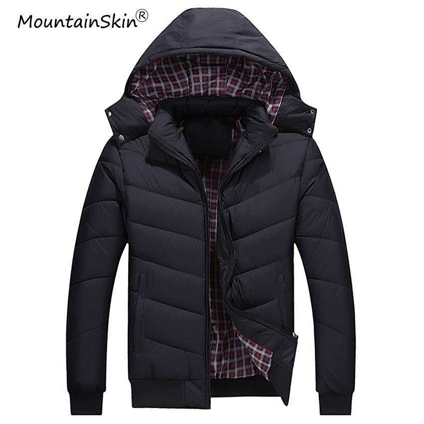 pretty nice 1c904 bbbf8 Giacca invernale da uomo di Mountainkin 5XL Cappotti casual con cappuccio  Giacca da uomo bomber slim fit caldo caldo Parka di marca degli uomini LA557