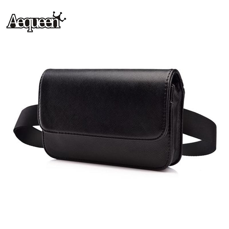 e3d7b2b1d90 AEQUEEN Fanny Pack PU Leather Waist Bag Women Men Waist Pack Travel Belt  Purses Brand Design Lady Small Phone Bag Black Bolsa Bum Bags Travel  Backpacks From ...