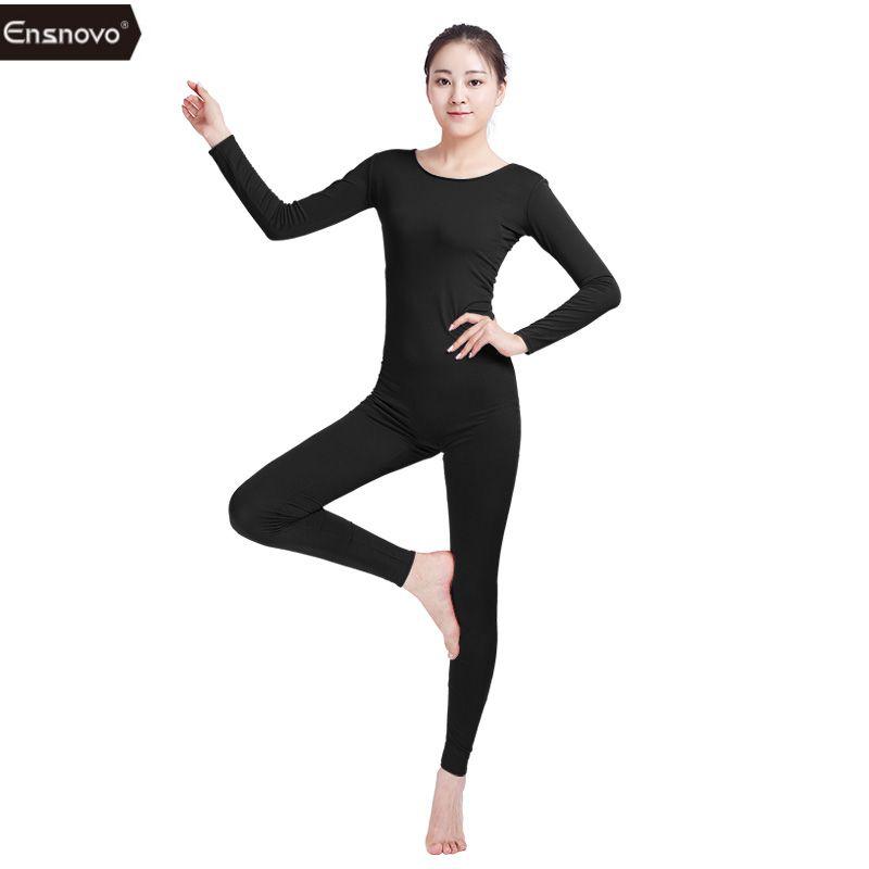 50b6db1cad30 2019 Ensnovo Womens Spandex Bodysuit Long Sleeve Yoga Unitard For ...
