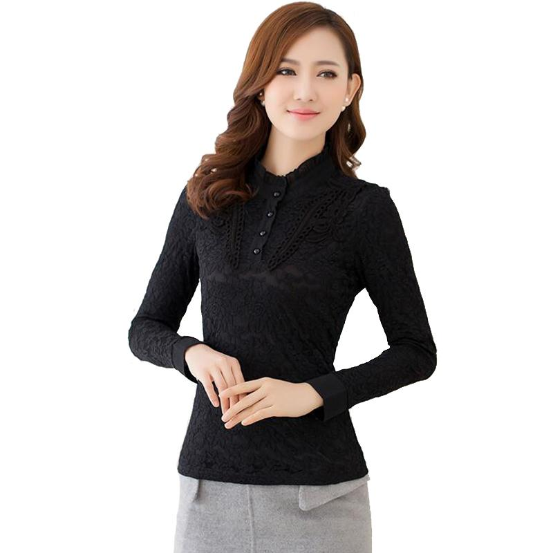 177c8d4e570 Discount Shirt Women Chiffon Blouse Autumn And Winter Large Size Stand Collar  Long Sleeve Plus Velvet Padded Shirt Plus Size M-5XL Kimono Woman Shirt ...