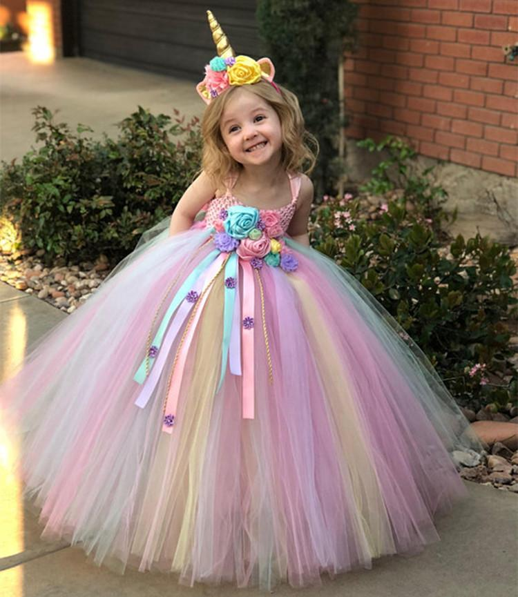 db7befd70fc7 2019 Girls Dress Unicorn Rainbow Dress Unicorn Headband Lace Flowers ...