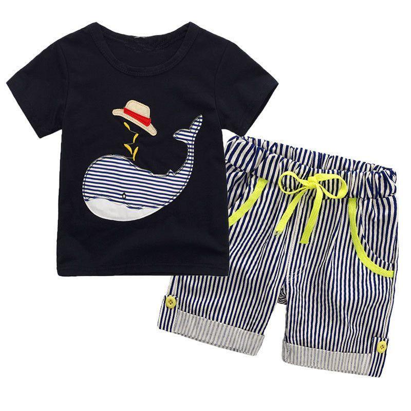 cda4be95597325 Großhandel Kinder Jungen Navy Whale Kleidung Sets 2018 Baby Zwei Stücke  Kleidung Kleinkind Sommer Sets Kinder T Shirt Und Gestreifte Shorts Für 2 7  T Von ...