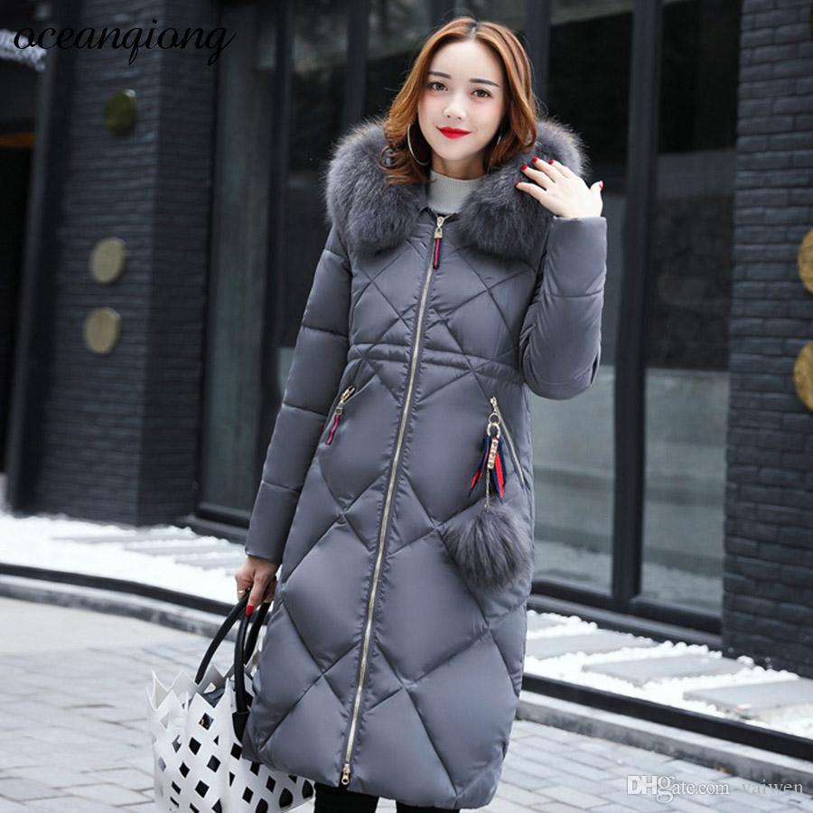 af2c765a9ebc7 3XL Woman Parka Jacket with Raccoon Fur Coat Jacket Slim Warm Winter ...
