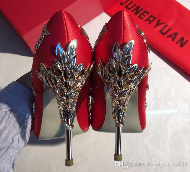 Red girl high heels with sexy satin and satin pointy banquets lady wedding shoes small size bride shoes 399