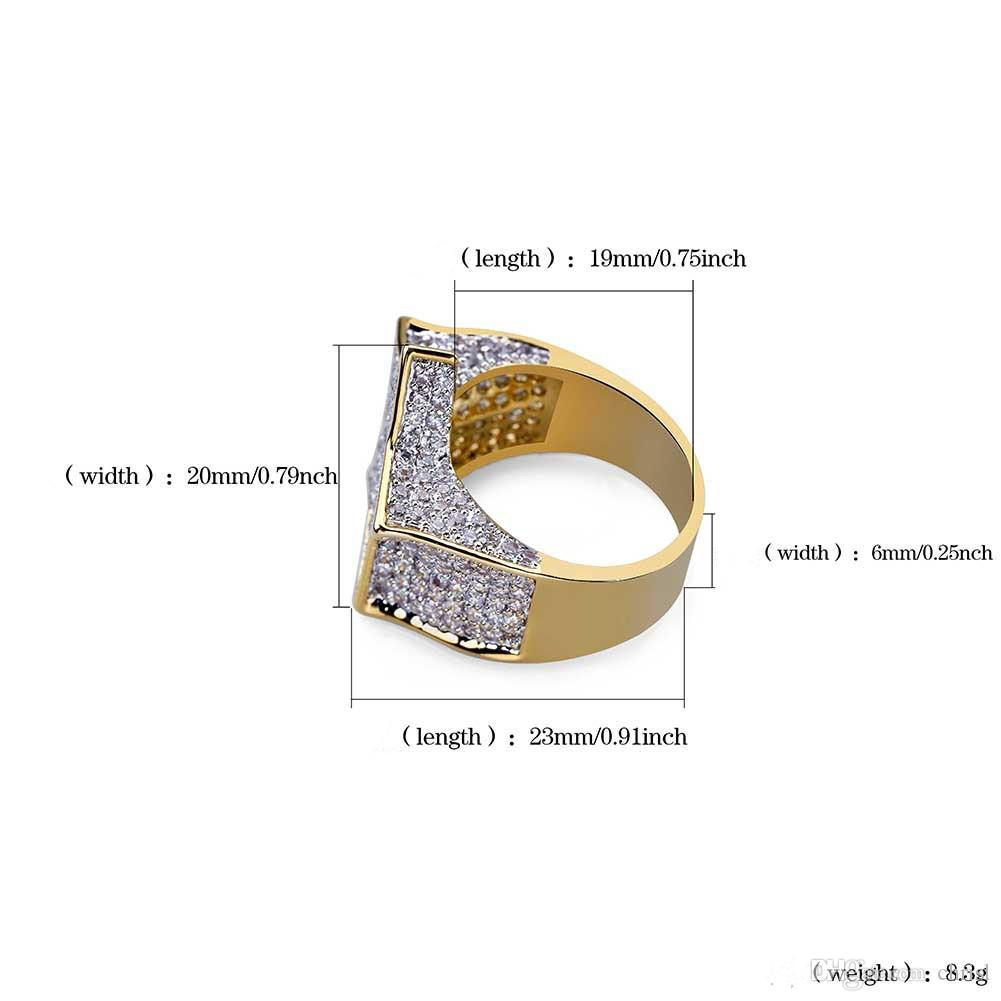 Men's Fashion Copper Gold Color Plated Ring Exaggerate High Quality Iced Out Cz Stone Star Shape Ring Jewelry Gift