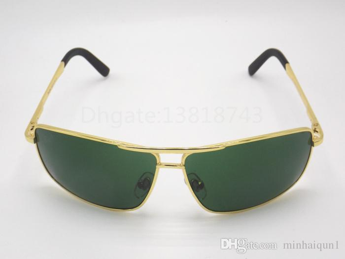 2018 New High Quality Mens Womens Fashion Rectangle Sunglasses Sun Glasses Gold Gunmetal Metal Frame 63mm Glass Lenses With Brown Box