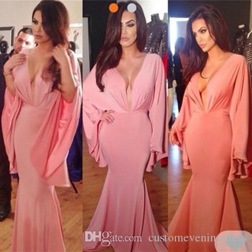 06ed111065 Compre Angelina Jolie Deep V Cuello Rosa Manga Larga Vestidos De Noche  Elegante Kaftan Vestido Sirena Vestido De Noche 2018 Celebrity Dresses A   110.56 Del ...