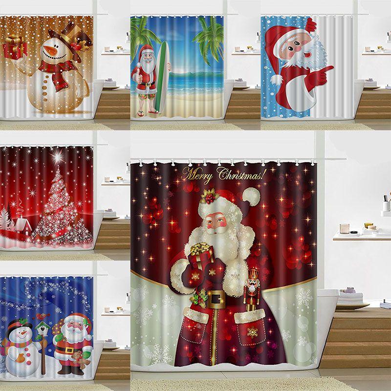 2018 180180cm Christmas Shower Curtain Santa Claus Snowman Waterproof Bathroom Decoration With Hooks 13 Design Wx9 107 From Starhui