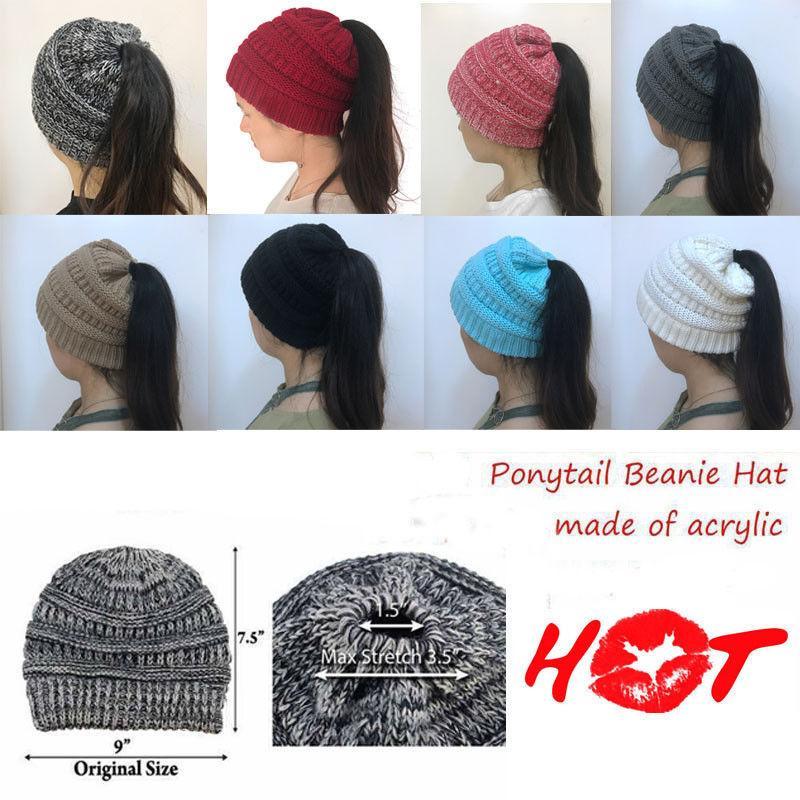1f94ff878 Women's Stretch Knit Hat Messy Bun Beanie Holey Warm Hats Winter