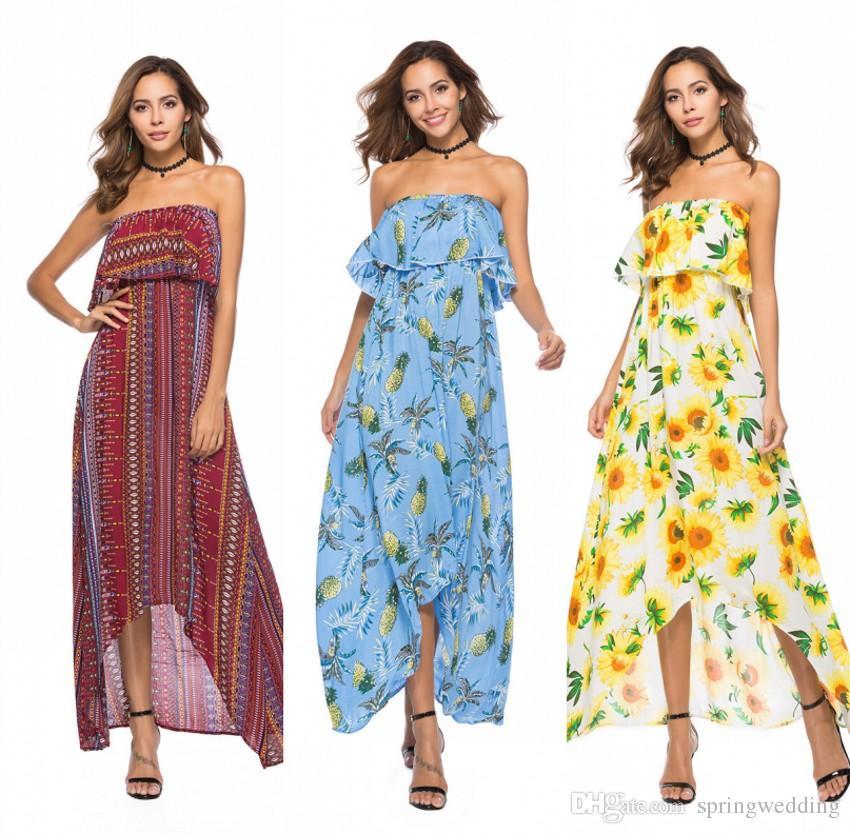 1755a633 2018 Summer Floral Print Maxi Dresses Womens Beach Club Casual Loose  Chiffon Sleeveless Ruffle Long Plus Size Fashion Boho Clothes FS3475  Dressing Styles ...