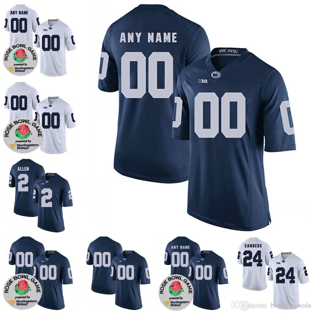 Compre Personalizado NCAA Penn Estado Nittany Lions College Football  Limited Personalizado Qualquer Nome Número   9 38 11 PSU Jerseys Branco  Azul 2018 Rose ... c51b4e15d