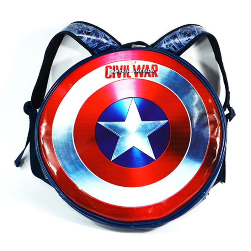 Anime Captain America LOGO Backpack Civil War Avengers Super Hero Students  Boy Girl School Bags Round Shape Leather Bag Mochila Black Backpack Camera  ... 1a8876d20ca4b