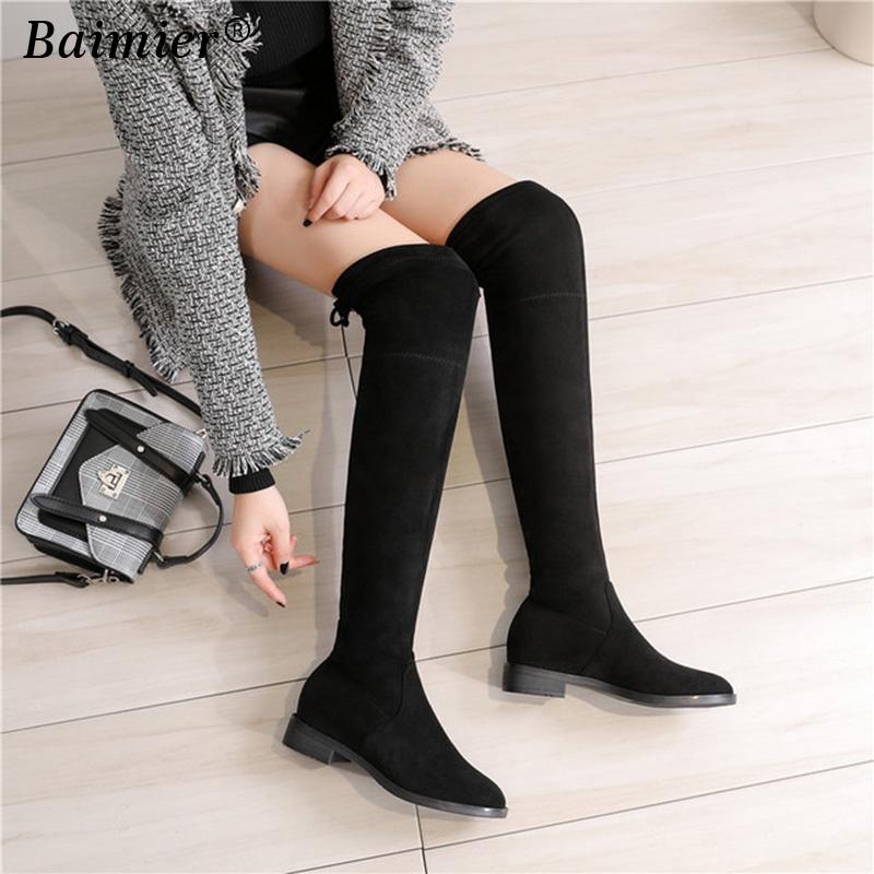 8dee94f0c3e Thigh High Boots Female Winter Boots Women Over The Knee Flat Stretch Sexy  Fashion Shoes 2018 Black Flock Riding Fur Boots Black Knee High Boots From  ...