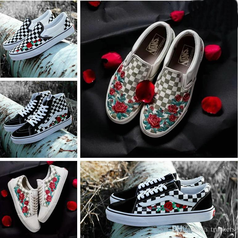 2018 Old Skool X AMAC Customs High Tops Chaussures Women Men Shoes Rose Embroidery Casual Designer Canvas Zapatillas de deporte Sneakers