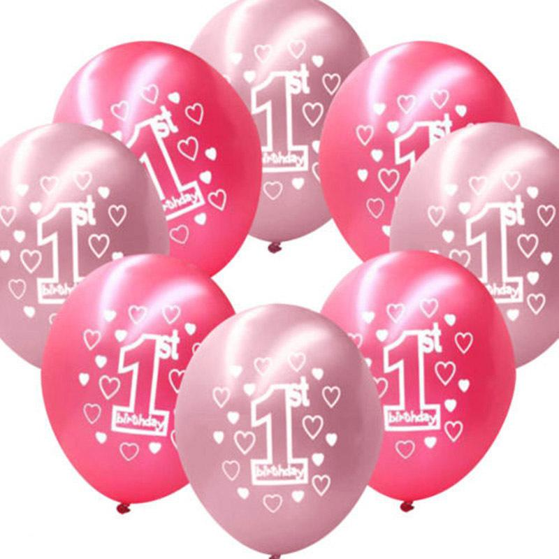 2019 Event Party Ballons Accessories 12 Inches Round Latex Number Balloons For Boys Baby Girls 1 Year Old First Birthday Celebration From