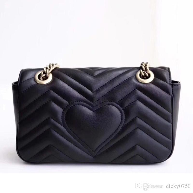 Wholesale genuine leather chain purse fashion chain shoulder bag cowhide handbag presbyopic card holder purse evening bag messenger women