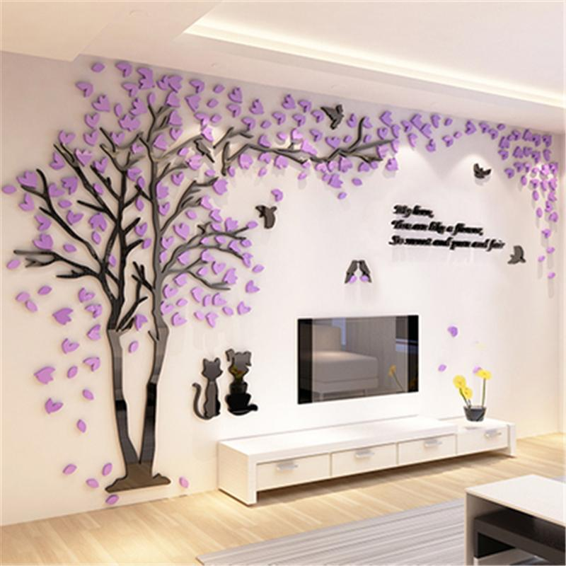 Creative Couple Tree 3D Sticker Acrylic Stereo Wall Stickers Home Decor TV Backdrop Living Room Bedroom Sofa Decorative Art Decals