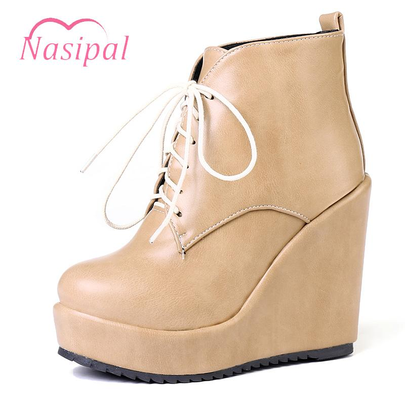5d633cc3148 Nasipal Wedges High Heels Women Boot Female Shoes Woman Autumn Winter Ankle  Boots Lace Up Round Toe Platform Boot Woman Shoes Ankle Boots Cheap Ankle  Boots ...