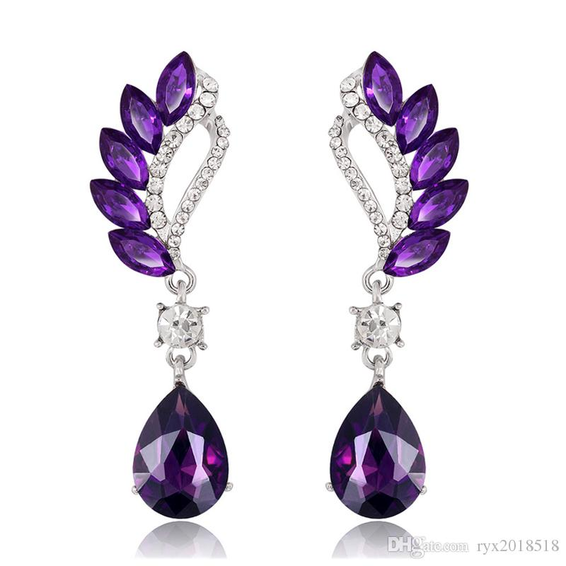 2019 New Design Amethyst Crystal Water Drop Pendant Drop Earrings For Women  Lady Fashion Rhinestone Leaf Dangle Earrings Party Jewelry From Ryx2018518 725d0507aff5