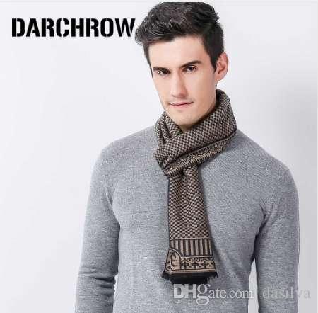 6ef18886f421 DARCHROW зимний шарф мужчины шикарный шерстяной плед вязаный шарф роскошные  кашемир ...