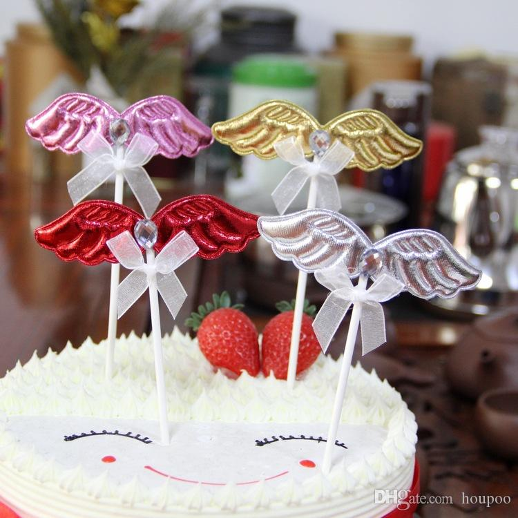 Pu Angel Wing Cupcake Toppers Wedding Decoration Centerpieces