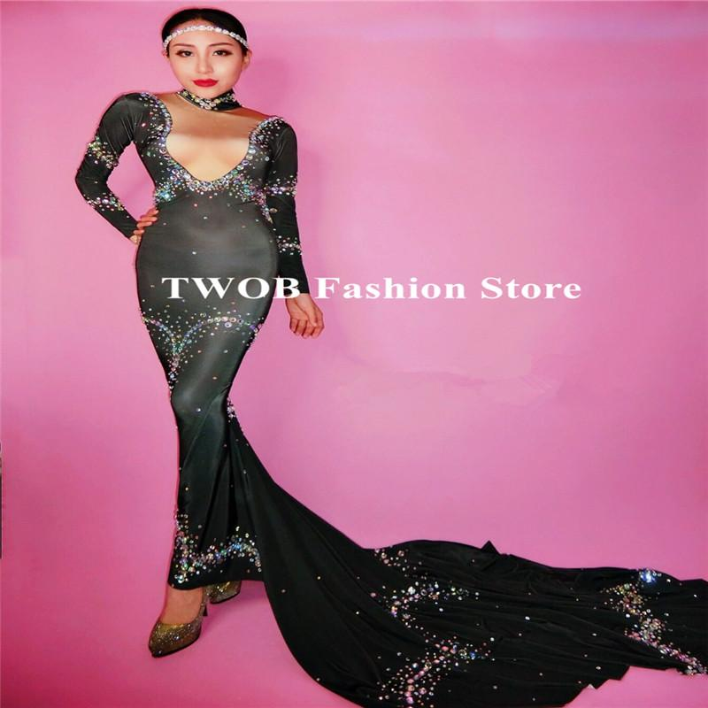 279648574f13c 2019 S52 Ballroom Dance Black Glass Stones Skinny Fishtail Dress Sexy Bling  Crystal Trailing Dress Women Singer Stage Wears Outfit Party Dj Cloth From  ...