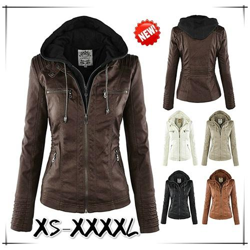 Tops Removable Hooded Leather Jackets Women Fashion Autumn Winter