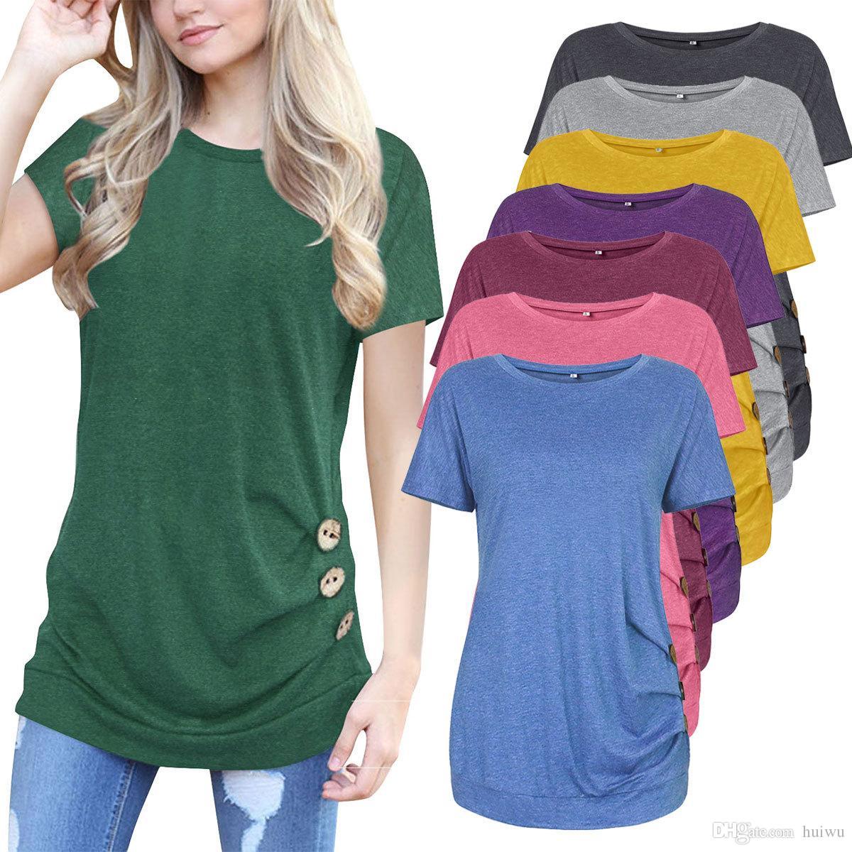 3e99259fa4e63 Satın Al Kadın Yaz O Boyun Kısa Kollu Uzun Temel T Gömlek Bayanlar Rahat  Yan Düğme Dekorasyon Gevşek Tee Gömlek Tops Femme, $16.61 | DHgate.Com'da