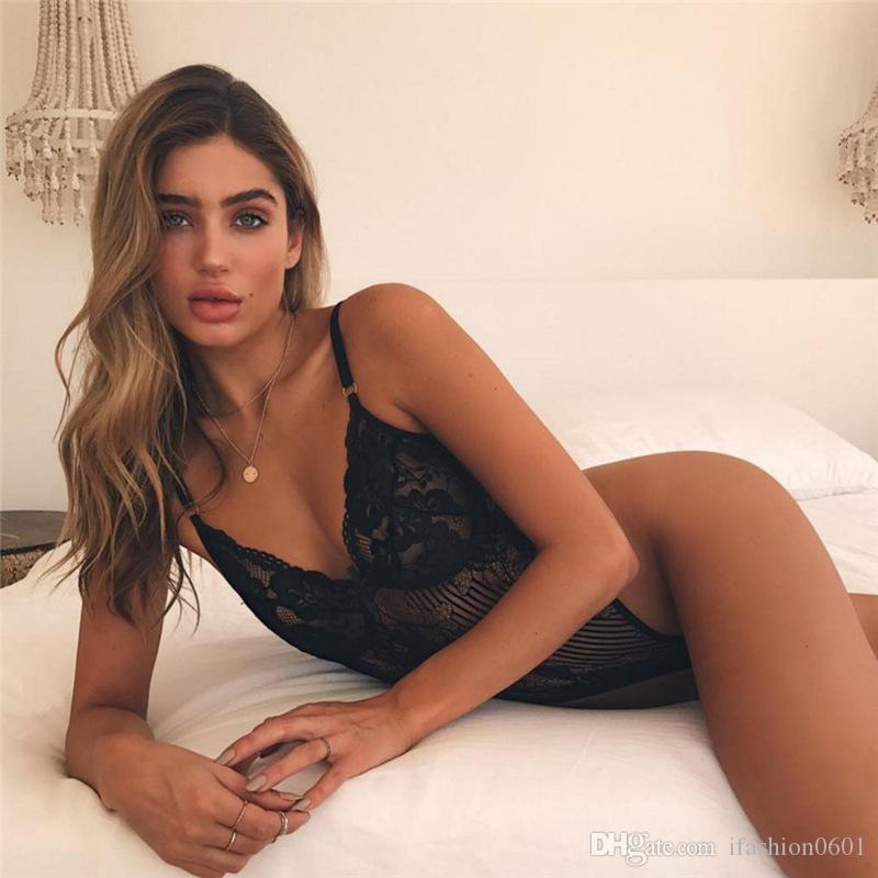 2018 Hot Sexy Women Summer Lace Mesh Sheer Bodysuit Top Leotard See Through Bodystocking Black White Vest Floral Swimwear Swimsuit