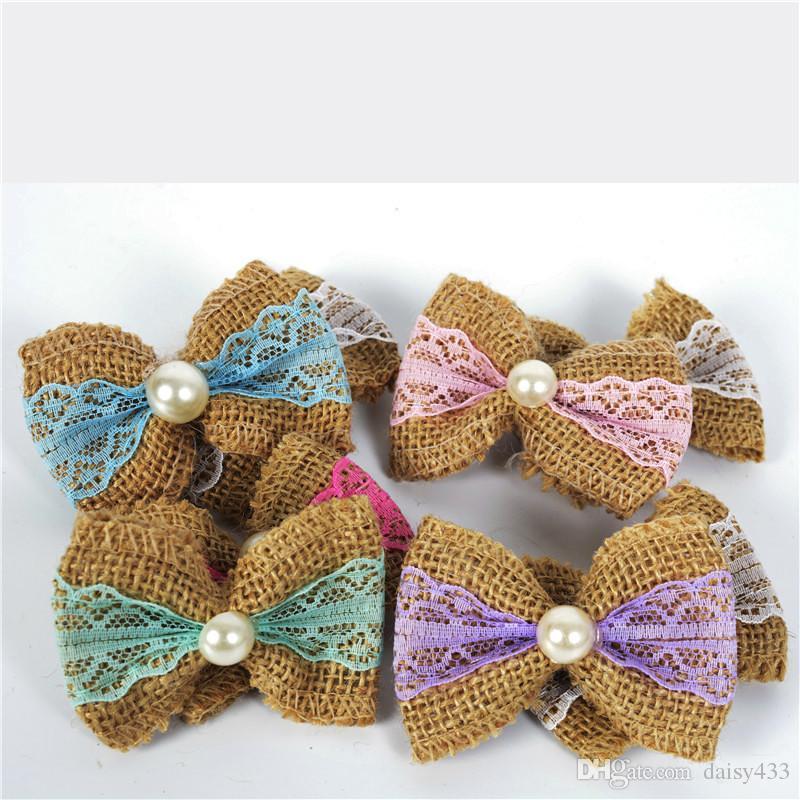 2019 Natural Jute Burlap Pearl Bowknot Bows Hat Accessories Craft
