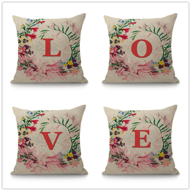 Red Flower Wreath Letter Monogram Decorative Cushion Sofa Throw Pillow  45x45 Cm 26 Alphabet Sign Cotton Linen Cushion Home Decor Seat Cushions For  Outdoor ... 759db149c2e2