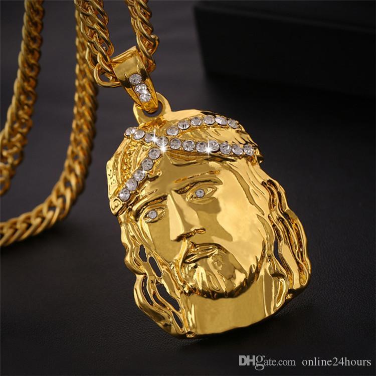 259af2b1879e Compre Color Oro Jesus Piece Collares Cadena Colgante Moda Nuevos Hombres  Joyas Jesus Mujeres Figura Collar Joyas Accesorios Regalo A  5.88 Del ...