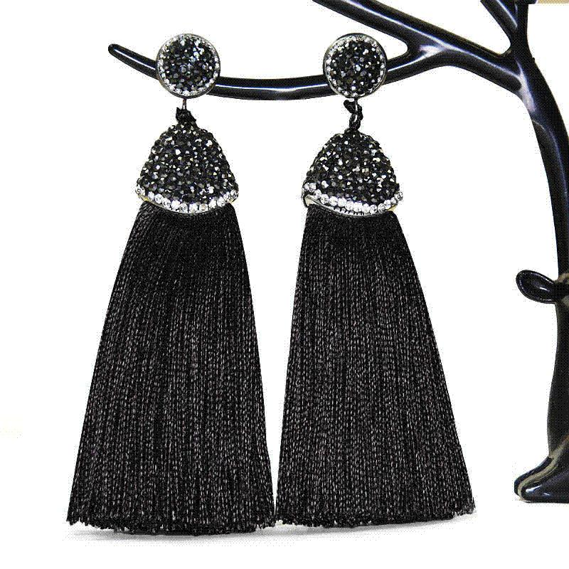 6677d0399 2019 2018 Bohemia Brand Long Crystal Silk Tassel Earrings Handmade High  Quality Grey Black Drop Dangle Earrings For Women Jewelery From Uncle003,  ...