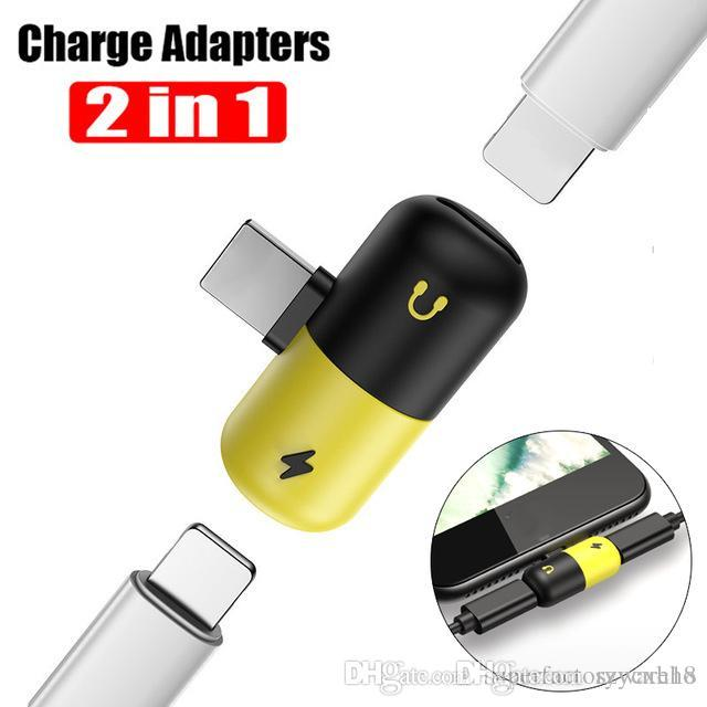2 In 1 Double Jack Charging Usb Cable Headphone Music Audio Adapter For Iphone 7 8 Plus X Ios Charge Converter Phone Plug