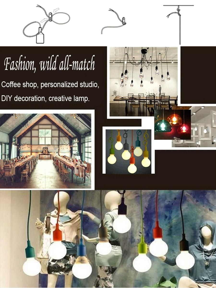 Colorful 1m Wire E26 E27 Socket Pvc Sillicone Pendant Ceiling Light Lights No Wiring Related Keywords Suggestions Lamp Bulb Holder Candy Color Decorative Lighting Modern Lamps