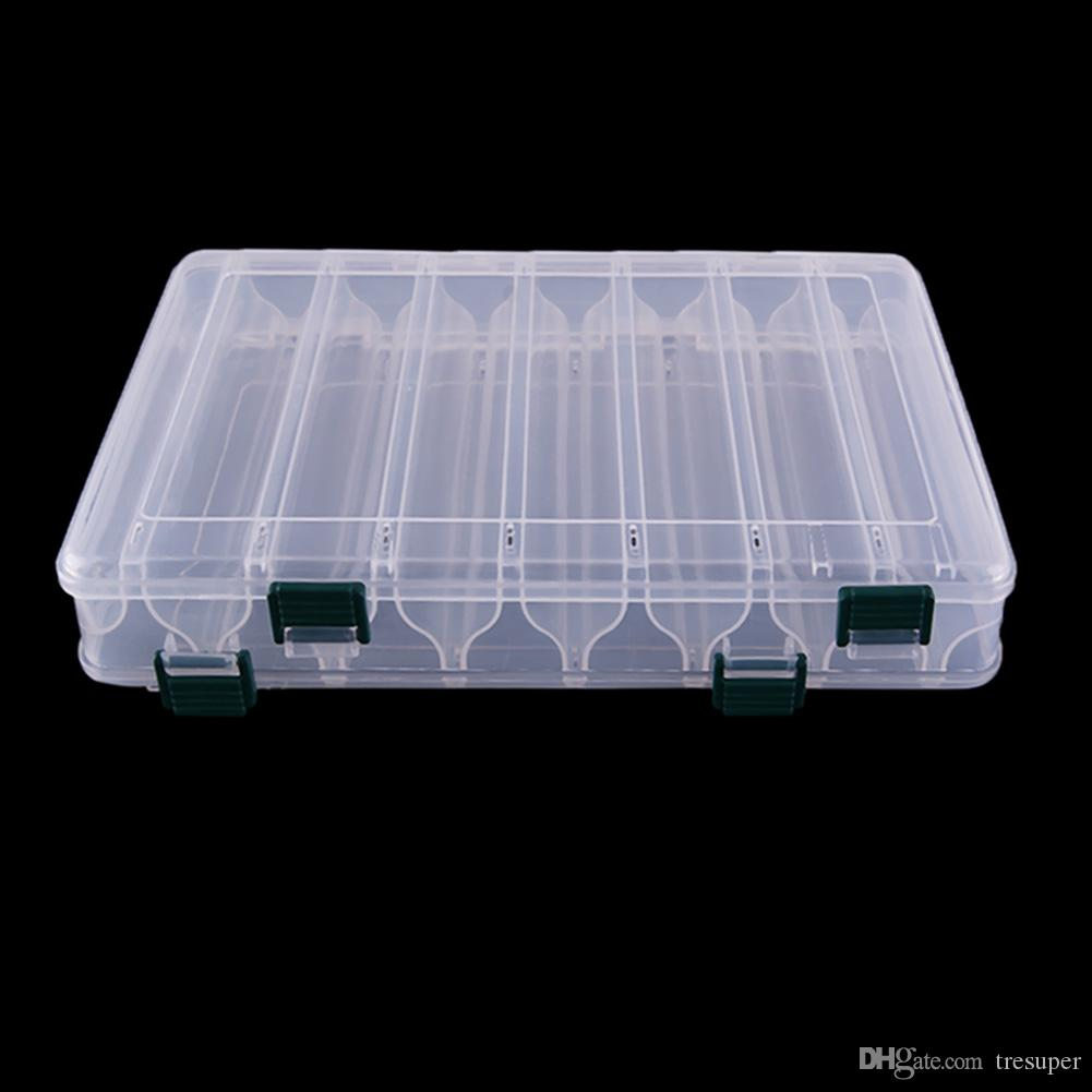 Double Sided 14 Compartments Plastic Fishing Lure Tackle Box Fishing Case Transparent Visible Storage Boxes