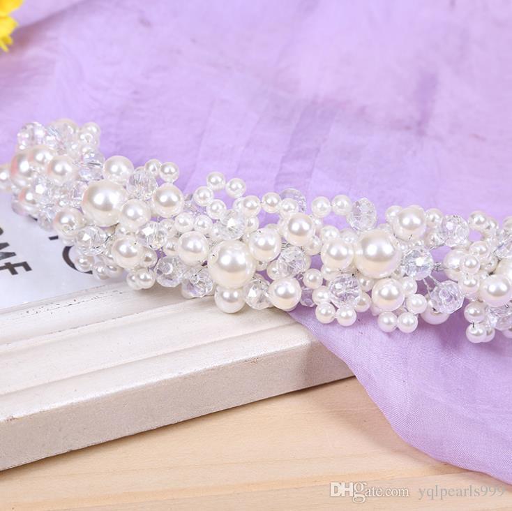 Gelin gelin headdress takı el yapımı inci düğün Kore saç saç bandı