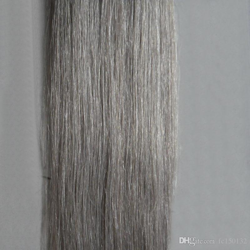 "Silver Gray hair extensions tape in human hair extensions 12"" 14"" 16"" 18"" 20"" 22"" 24"" 26"" 100g 7a grey tape hair extensions"