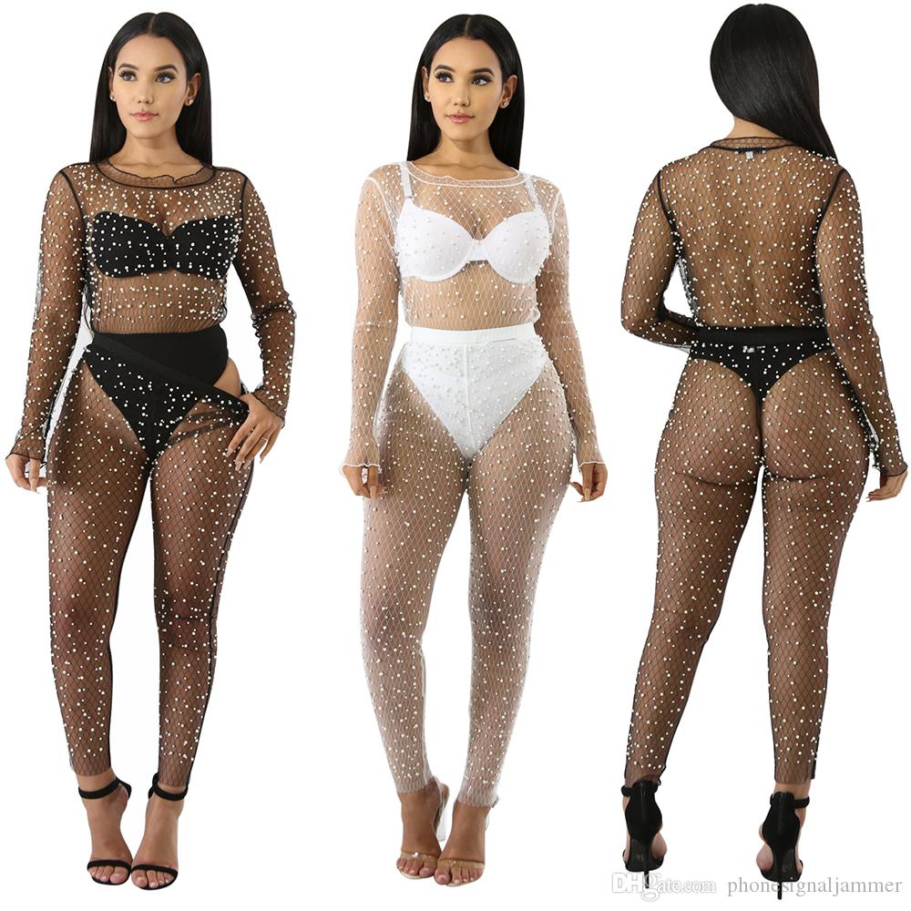 2019 Women Suits Sexy Lingerie Fishnet Crotchless Thin And Light Outfit Shirt Long Sleeve Crop Perspective Hollow Out Pearl Lace Sets From Phonesignaljammer