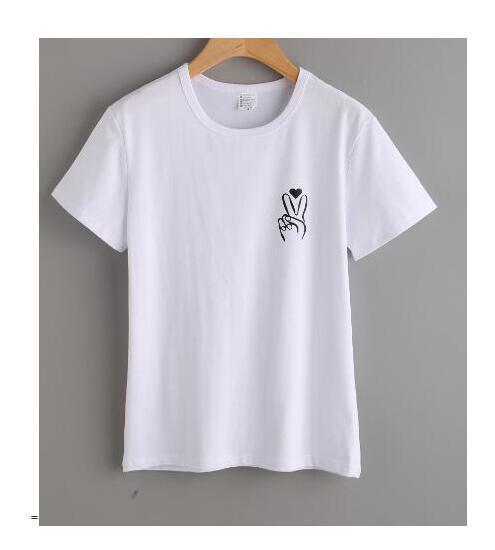48b110e8b9 Compre Camiseta Para Mujer   Hombre Camiseta Estampada Con Estampado De  Dedo De La Paz Camiseta Estampada De Bolsillo Con Estampado De Corazones  Dedos De La ...