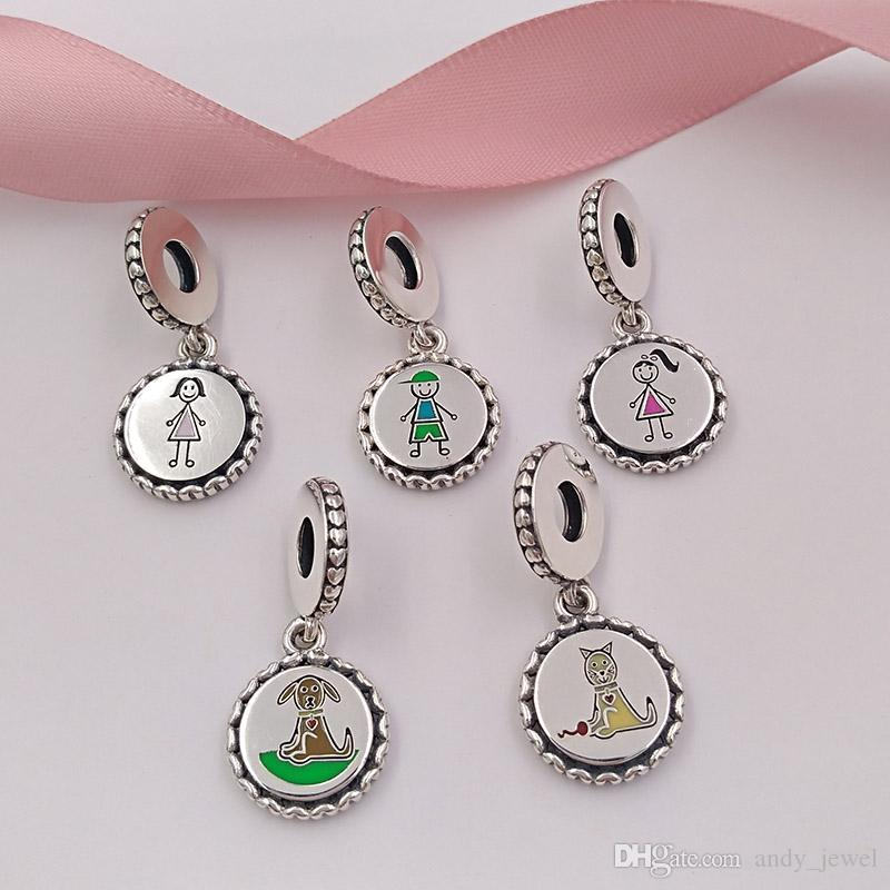 Charms in argento 925 con figura stilizzata della collezione Family
