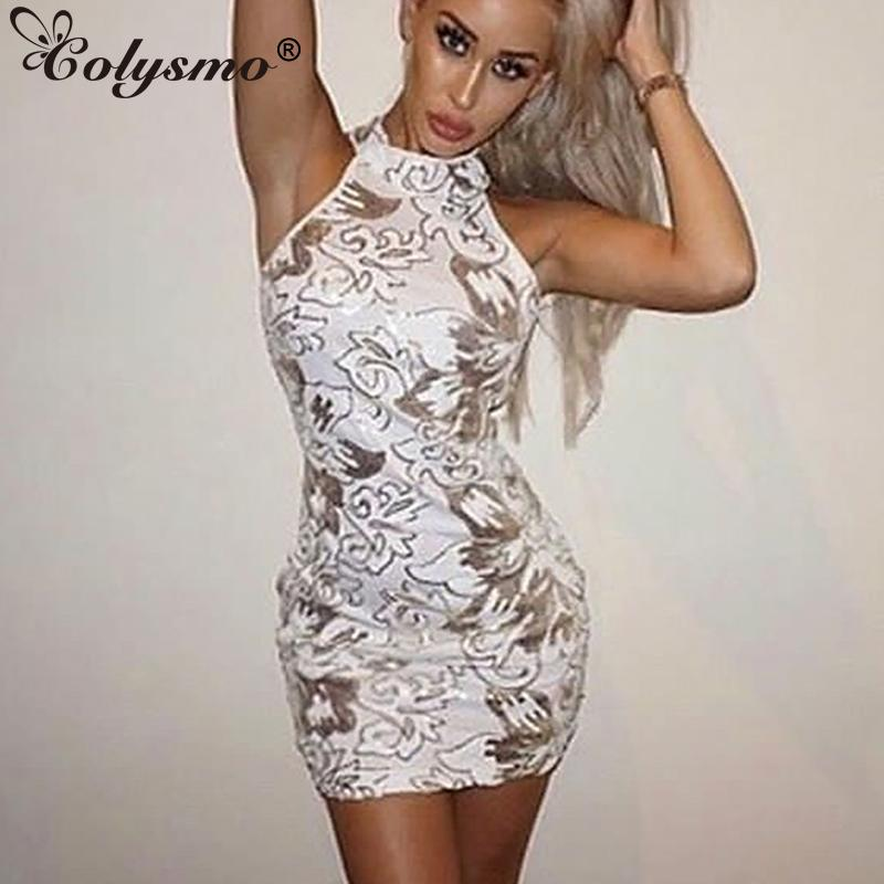 Colysmo Sleeveless Sexy Halter Floral White Sequin Dress Sequined ... eb5ae727b057