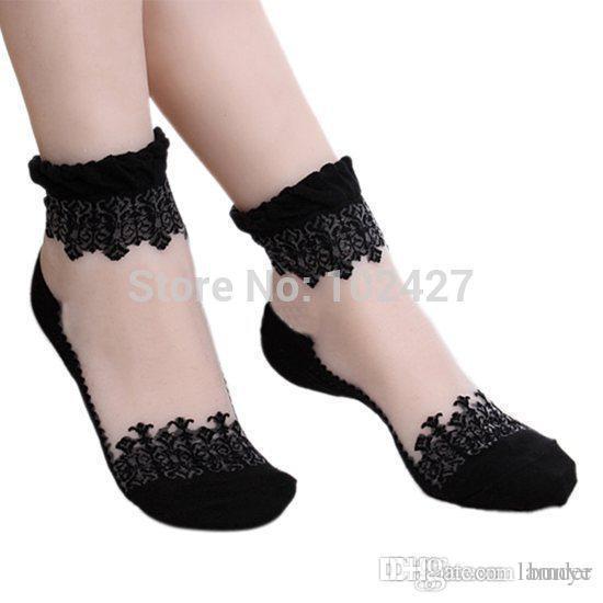 1cc8a7d4f96cf Wholesale- Spring Summer 1Pair New Fashion Lace Socks for Women Girls  Ultrathin Transparent Beautiful Laciness Socks Princess Short Socks