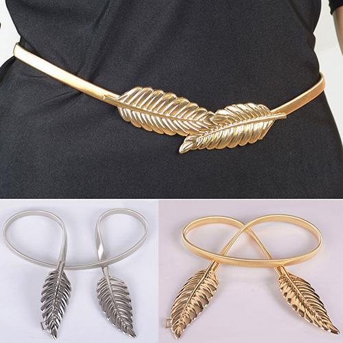023dd3ebc918 Acheter Ceinture Feuille Design Nouveau Style De La Mode Féminine Fermoir  Élastique Taille En Métal Femme Ceinture Couleur Argent Doré De  19.79 Du  Htiancai ...