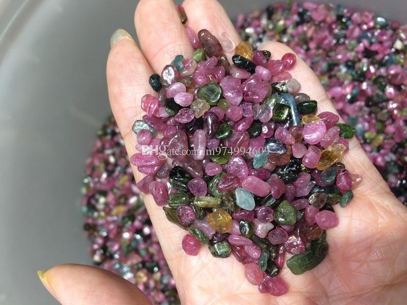 100g Mixed Tumbled Small loose Stone Natural polished Crystal Gems Quartz Red Green Blue Tourmaline Chips For Healing Reiki