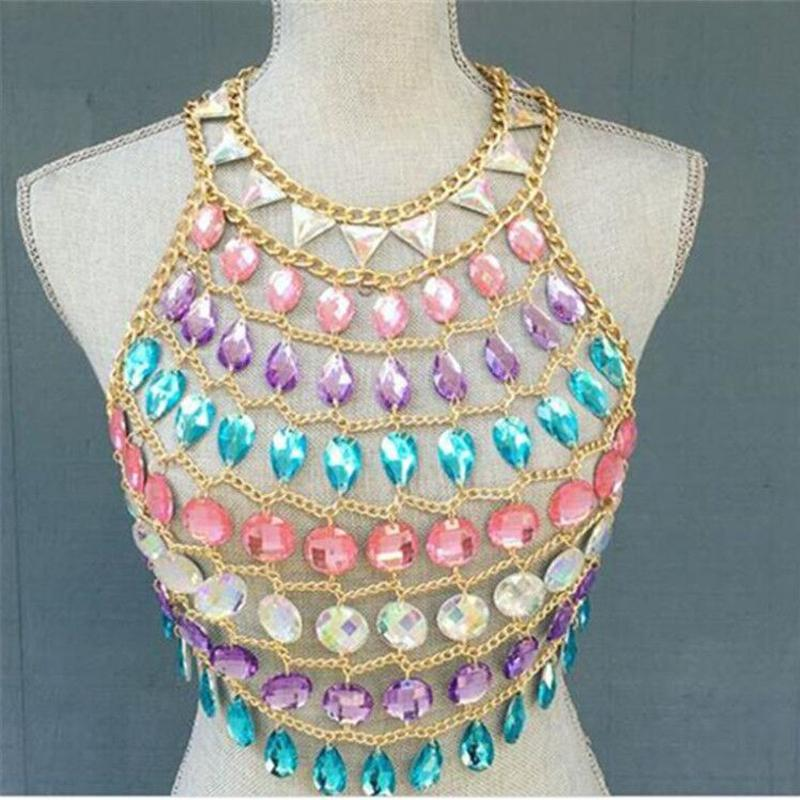 6a945c64b4334 2019 Women Colorful Acrylic Crystal Festival Tank Tops Beach Sparkly Crazy  Gem Sequins O Neck Nightclub Party Camis Crop Top Dropship From  Clothwelldone