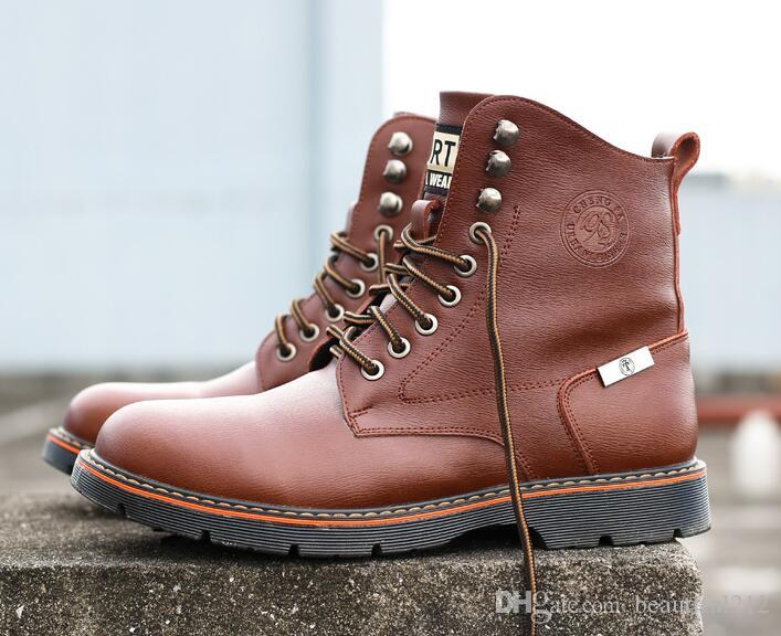 b068ec98 Autumn And Winter New Martin Boots Men's Retro Leather Boots Fashion High  Help Plus Velvet Design Desert Tooling Shoes Men's Martin Boots Men's  Martin Shoes ...