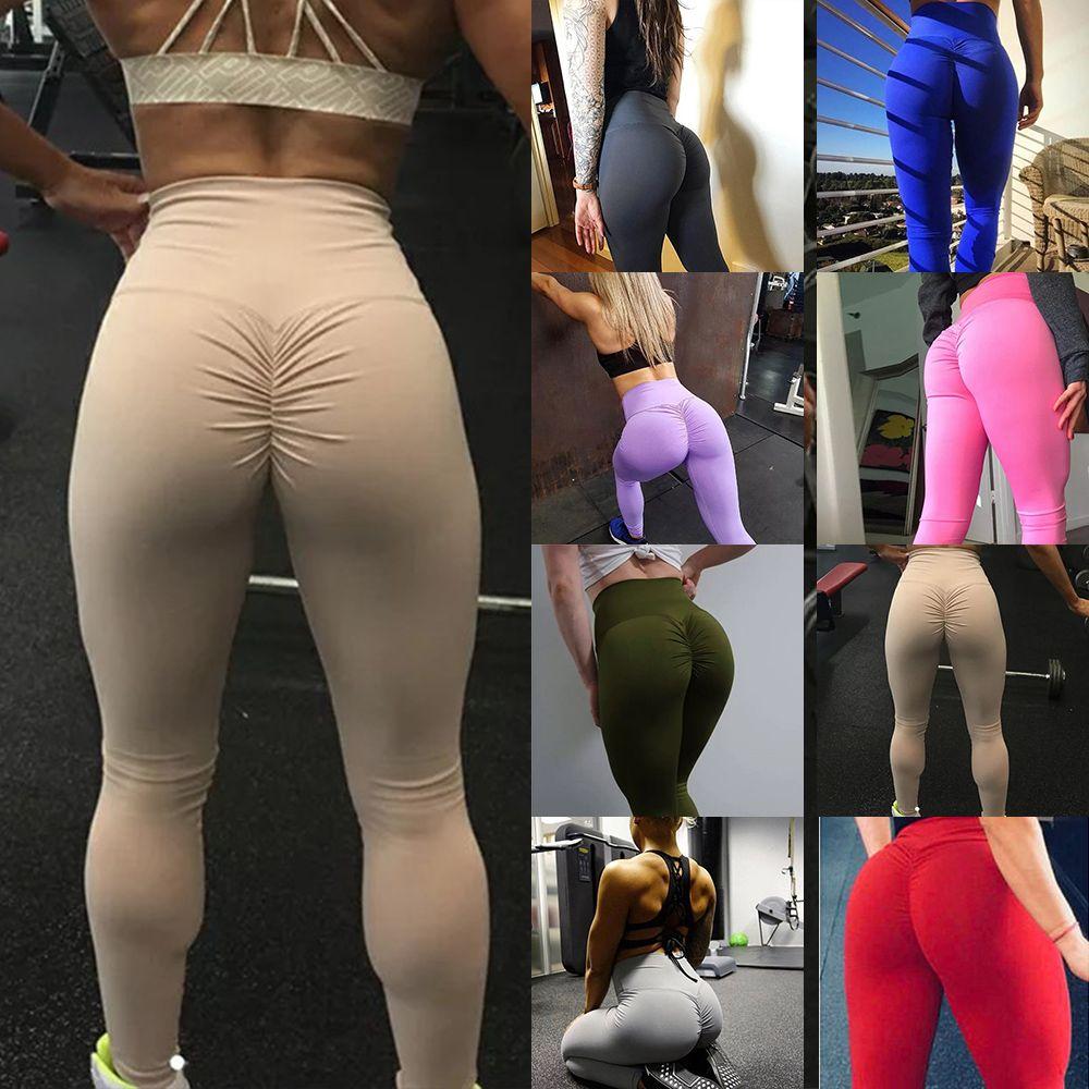 6c10e61d6 Mujeres Cintura Alta Yoga Leggings de Fitness Levantamiento de Cintura  Pantalones Running Gymwear Workout Medias Estiramiento Pantalones  Deportivos ...
