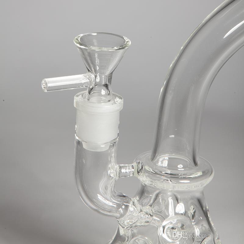 9.5''inch Cam Bong İsviçre Duş Başlığı Perc Bubbler Dab Kuyuları 4mm Kalın Su Boruları Koni Baz Nargile Peynir Beaker Bongs Recycler Yağ Kuleleri