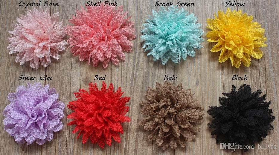 8cm DIY Lace Fabric Flower with Lined Alligator Clip,Hair Clip Flower for Girls Hair Accessories,to Choose